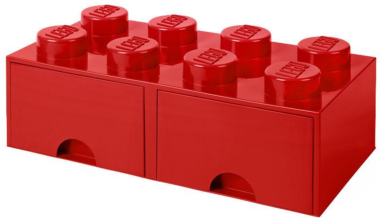 Déco - Pour les enfants - Boîte Lego® Brick / 8 plots - Empilable - 2 tiroirs - ROOM COPENHAGEN - Rouge - Polypropylène