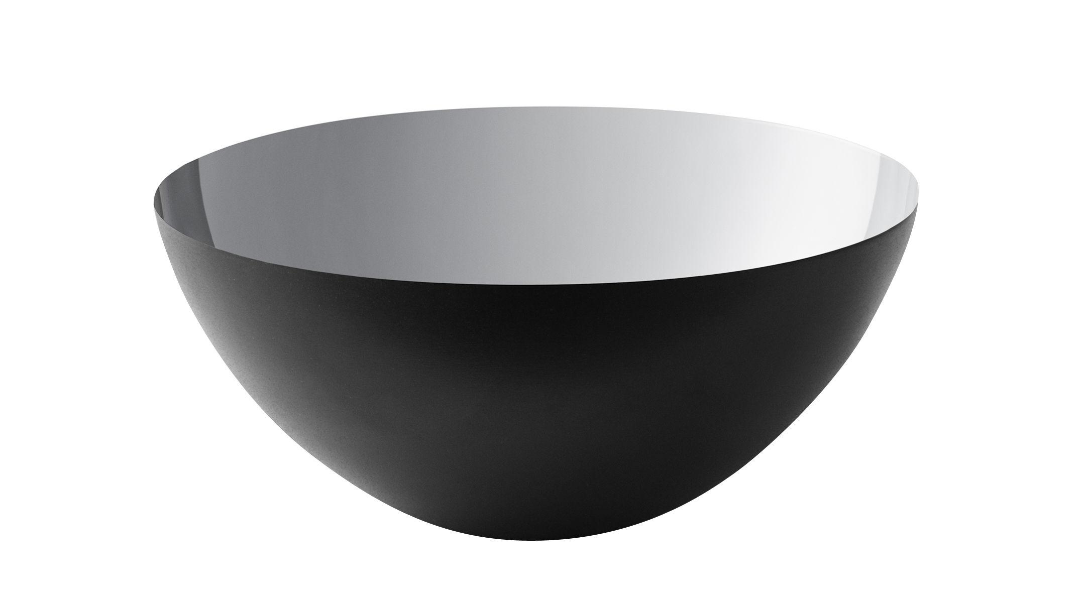 Arts de la table - Saladiers, coupes et bols - Bol Krenit / Ø 16 x H 7,1 cm - Acier - Normann Copenhagen - Noir / Intérieur argent - Acier émaillé
