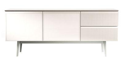 Arredamento - Contenitori, Credenze... - Buffet Voltaire - / L 180 cm - 2 ante laccate di Diesel with Moroso - Bianco / Piano tortora - Acciaio perforato, MDF laccato, Melaminico