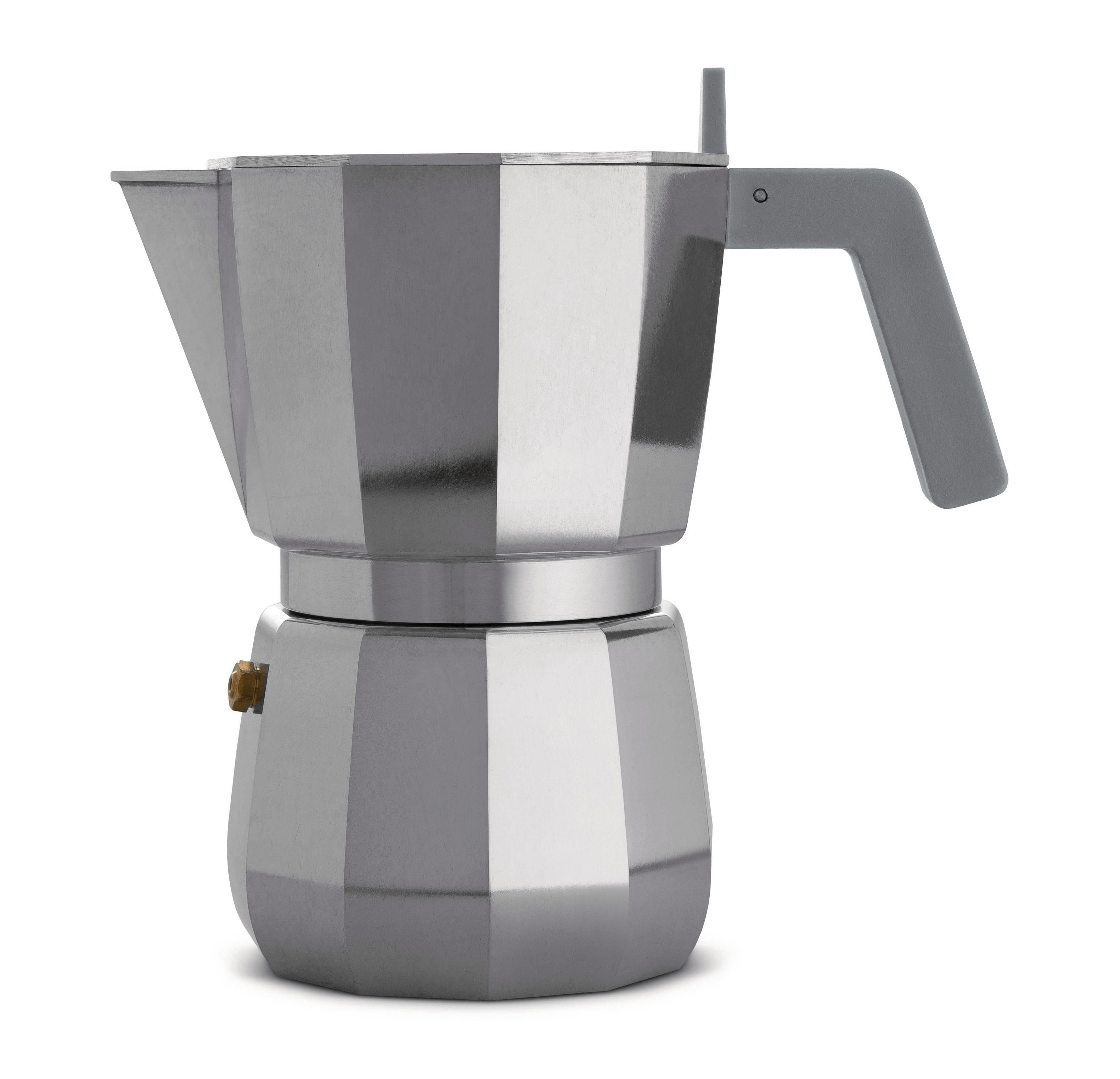 Arts de la table - Thé et café - Cafetière italienne Moka /6 tasses - Alessi - 6 tasses / Acier - Fonte d'aluminium, Polyamide