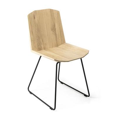 Mobilier - Chaises, fauteuils de salle à manger - Chaise Facette / Chêne massif - Ethnicraft - Chêne / Pied noir - Chêne massif certfié FSC, Métal verni