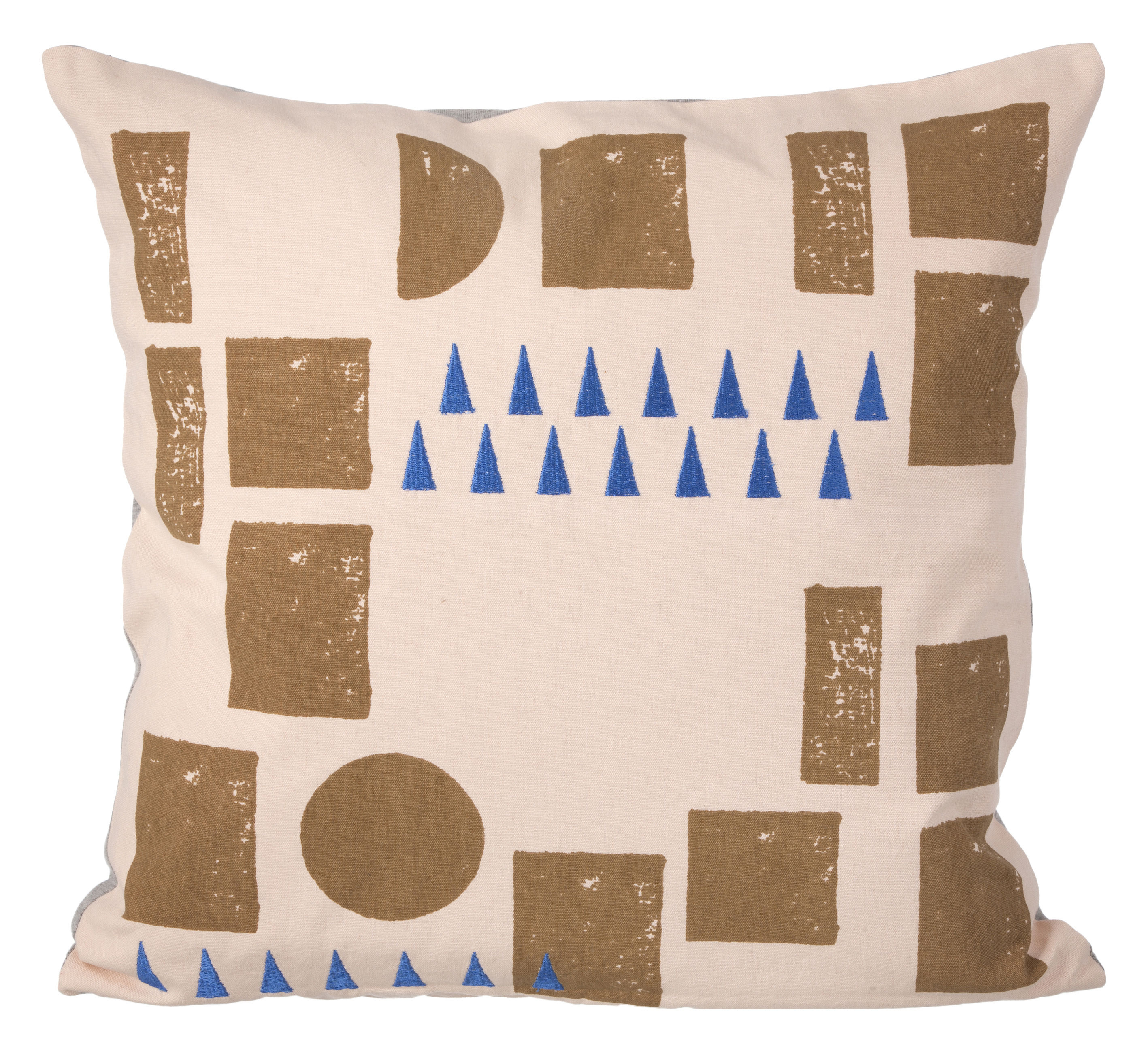 Decoration - Cushions & Poufs - Block Cushion - 40 x 40 cm by Ferm Living - Pink & blue -  Duvet,  Plumes, Fabric