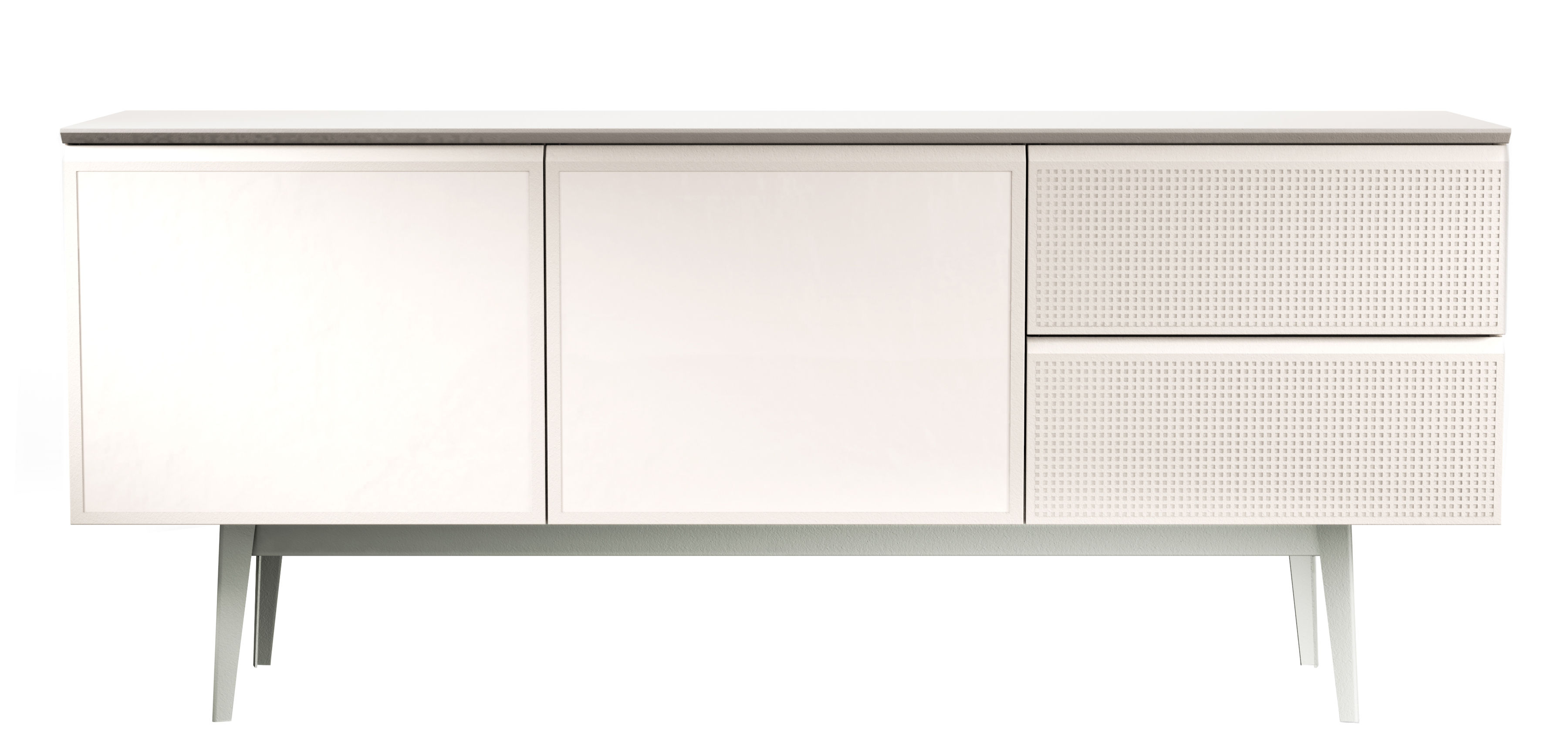 Furniture - Dressers & Storage Units - Voltaire Dresser - L 180 cm by Diesel with Moroso - White / Turtledove top - Lacquered MDF, Melamine wood, Perforated steel