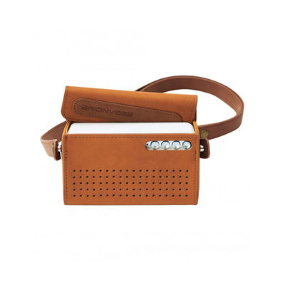Accessoires - Enceintes audio & son - Enceinte Bluetooth portable ts217 WEARiT / Sacoche cuir - Brionvega - Acier brossé / Tabac - Métal