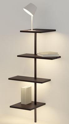 Etagère lumineuse Suite / H 114 cm / Lampe & port USB - Branchement mural - Vibia blanc,marron foncé en métal
