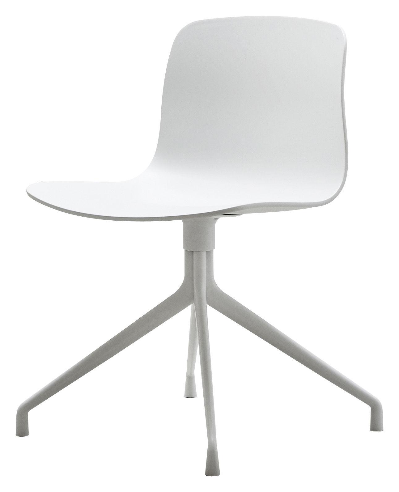 Arredamento - Sedie  - Girevole sedia About a chair - 4 piedi - Girevole di Hay - Bianco - Ghisa di alluminio laccata, Polipropilene