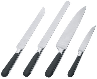 Kitchenware - Kitchen Knives - Mami Kitchen knife - Set of 4 by Alessi - Steel - Black - TPE, Wrought steel