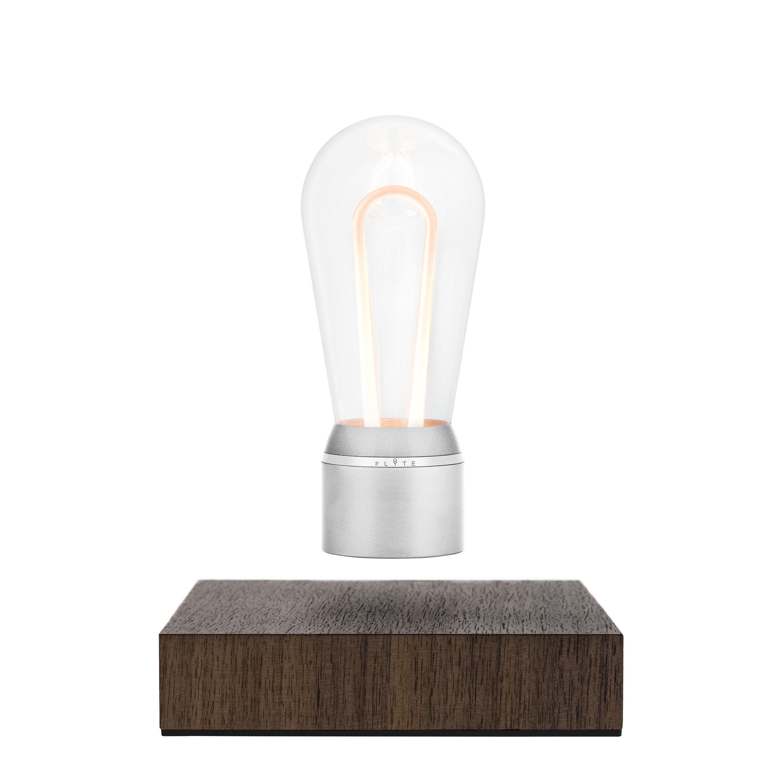 Illuminazione - Lampade da tavolo - Lampada da tavolo Flyte Nikola - / Lampadina a levitazione magnetica di Flyte - Cromata / Base noce - Alluminio, Noce, Vetro
