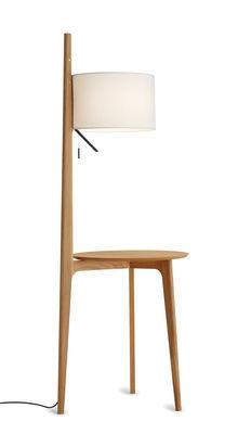 Lampadaire Carla / Table d'appoint - Carpyen blanc,chêne naturel en bois