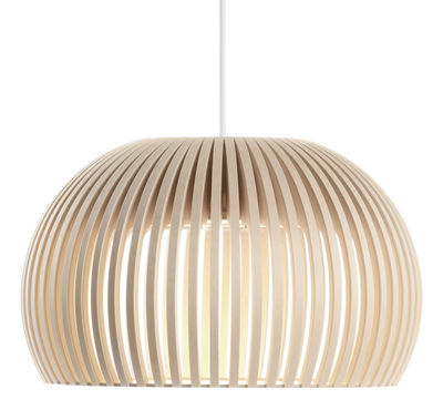 Lighting - Pendant Lighting - Atto Pendant - LED / Ø 34 cm by Secto Design - Natural birch / White cable - Birch slats, Textile