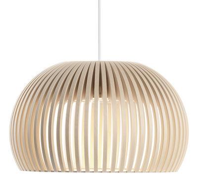 Leuchten - Pendelleuchten - Atto Pendelleuchte LED /  Ø 34 cm - Secto Design - Birkenholz natur / Kabel weiß - Birkenlatten, Textil
