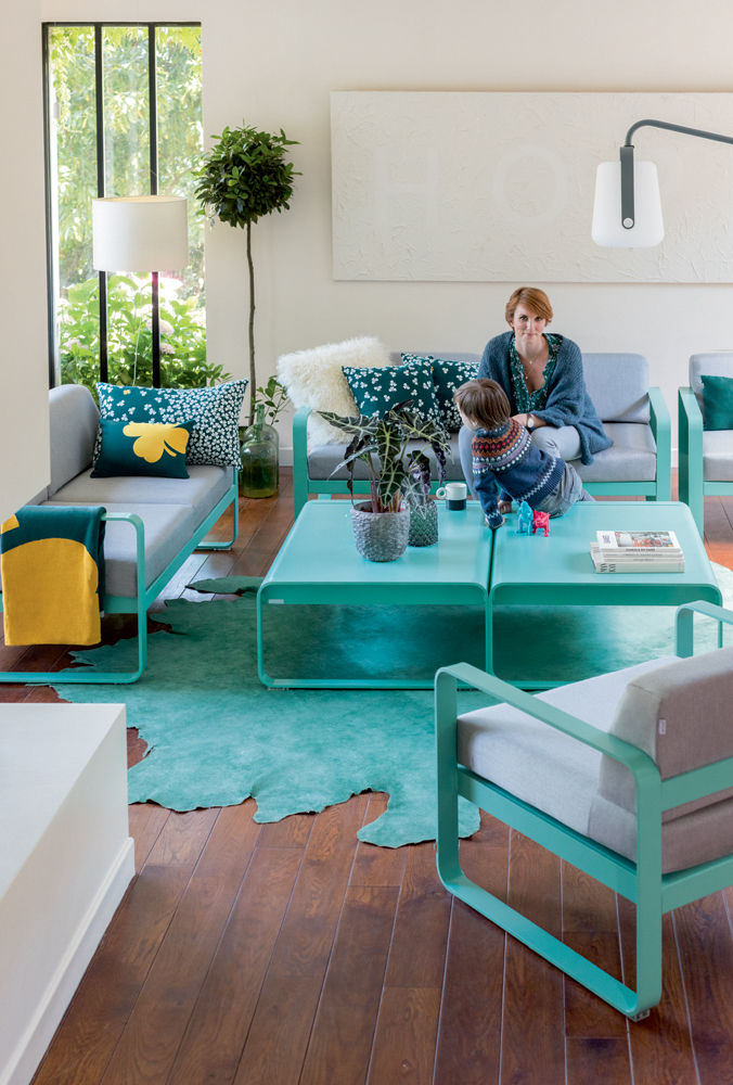 plaid tr fle fermob bleu canard miel made in design. Black Bedroom Furniture Sets. Home Design Ideas