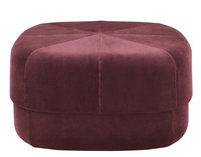 Furniture - Poufs & Floor Cushions - Circus Large Pouf - Coffee table - Large - 65 x 65 cm by Normann Copenhagen - Dark red velour - Cotton, Velvet
