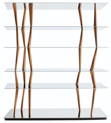 Arredamento - Scaffali e librerie - Scaffale Sendai - 6 ripiani - H 192 cm di Horm - L 192 x H 192 cm - 6 ripiani - Acciaio inox e noce canaletto - Acciaio inossidabile lucido, Noce