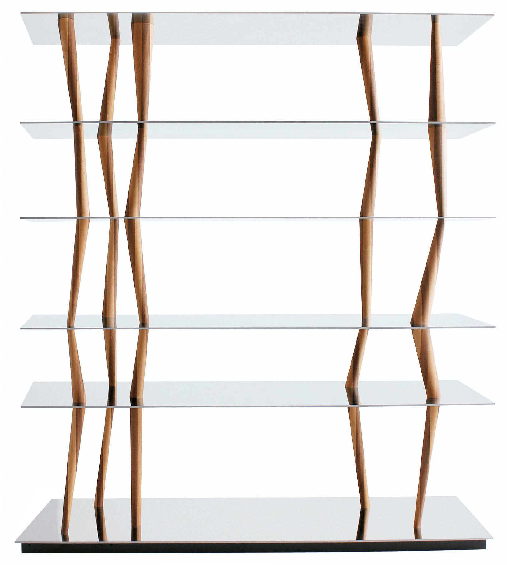 Furniture - Bookcases & Bookshelves - Sendai Shelf - 6 étagères - H 192 cm by Horm - L 192 x H 192 cm - 6 shelves - Polished stainless steel & Black - Polished stainless steel, Walnut