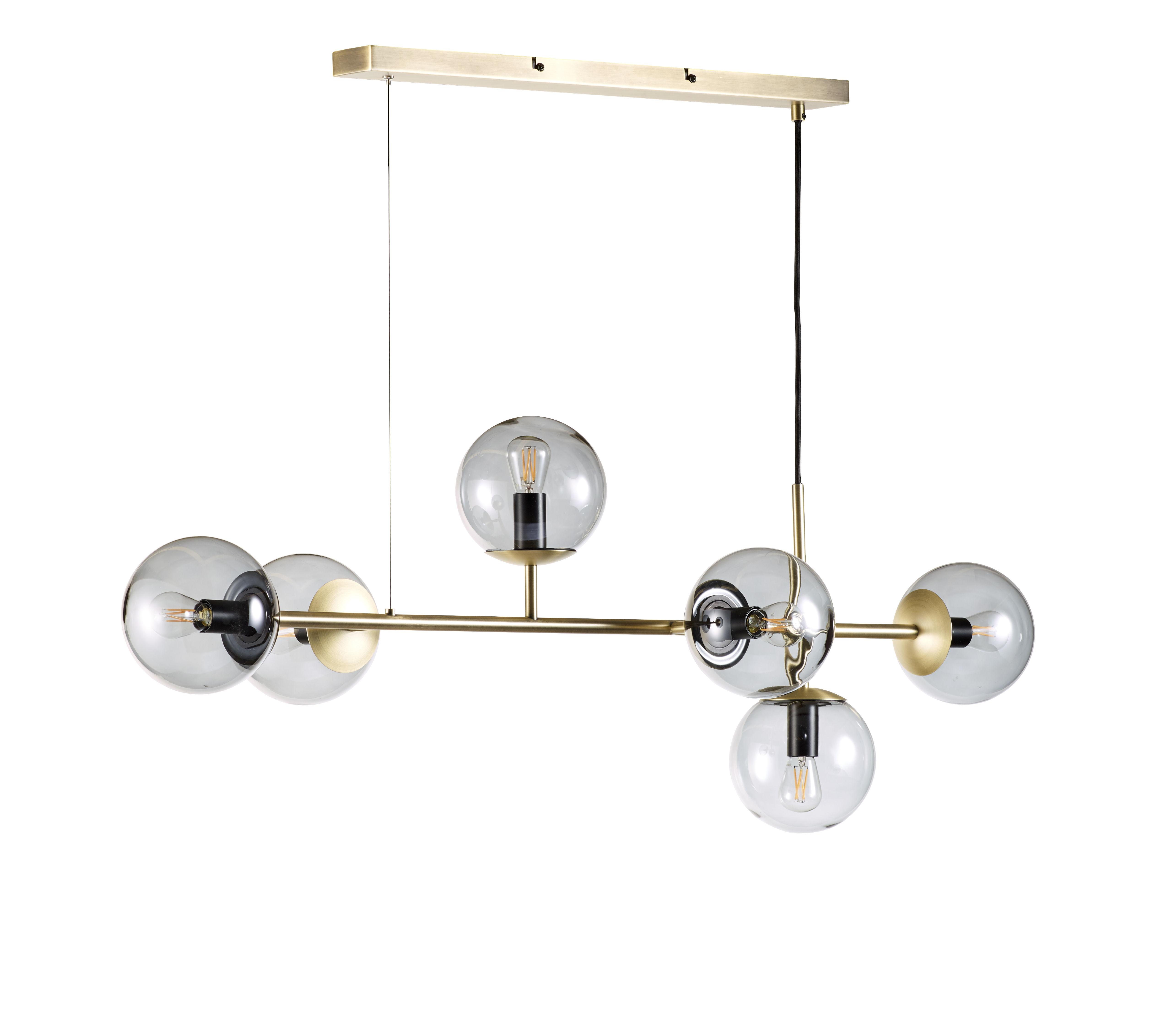 Illuminazione - Lampadari - Sospensione Orb - / Orizzontale - L 114 x H 42 cm di Bolia - Ottone - Ottone, Tessuto, Vetro