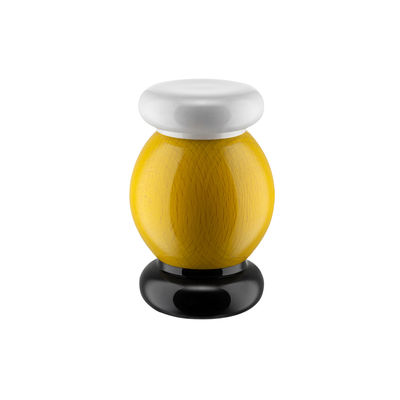 Tableware - Salt, pepper and oil - / By Ettore Sottsass - H 11 cm Spice mill - / Alessi 100 Values Collection by Alessi - Yellow - Ceramic, Solid turned beech, FSC-certified