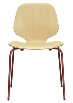 Furniture - Chairs - My Chair Stacking chair - Wood seat by Normann Copenhagen - Ash / Dark Red legs - Ash veneer, Lacquered steel