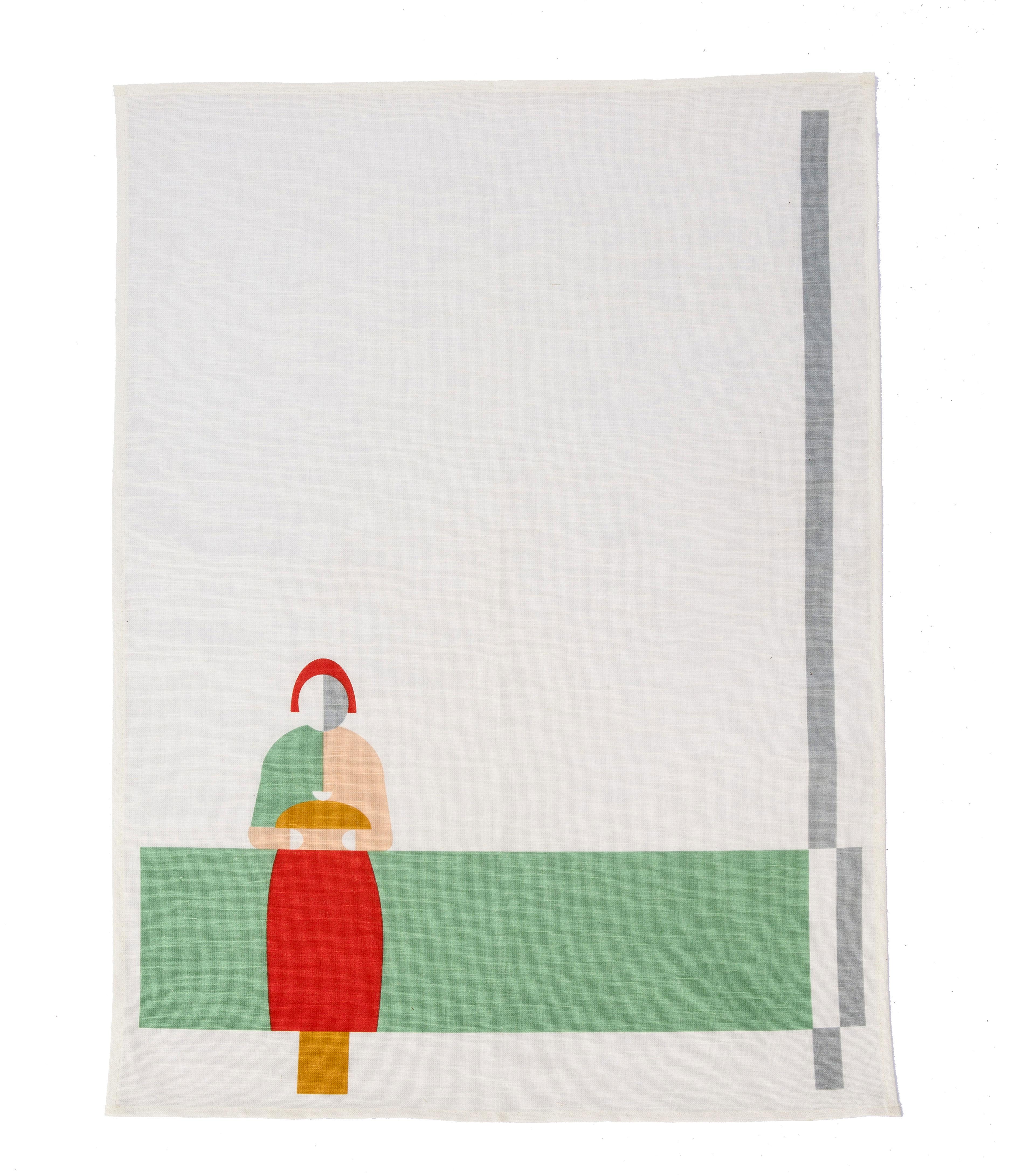Cucina - Grembiuli e Strofinacci - Strofinaccio Bread & Salt / 70 x 47 cm - studio ROOF - Bianco / Motivi multicolore - Cotone, Lino