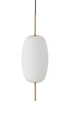 Luminaire - Suspensions - Suspension Silk / Verre & laiton - Ø 16 cm - Frandsen - Ø 20 cm / Blanc & laiton - Laiton, Verre blanc opalin
