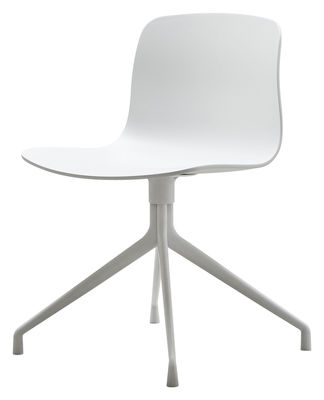Furniture - Chairs - About a chair Swivel chair - 4 legs by Hay - White / Natural wood feet - Lacquered cast aluminium, Polypropylene