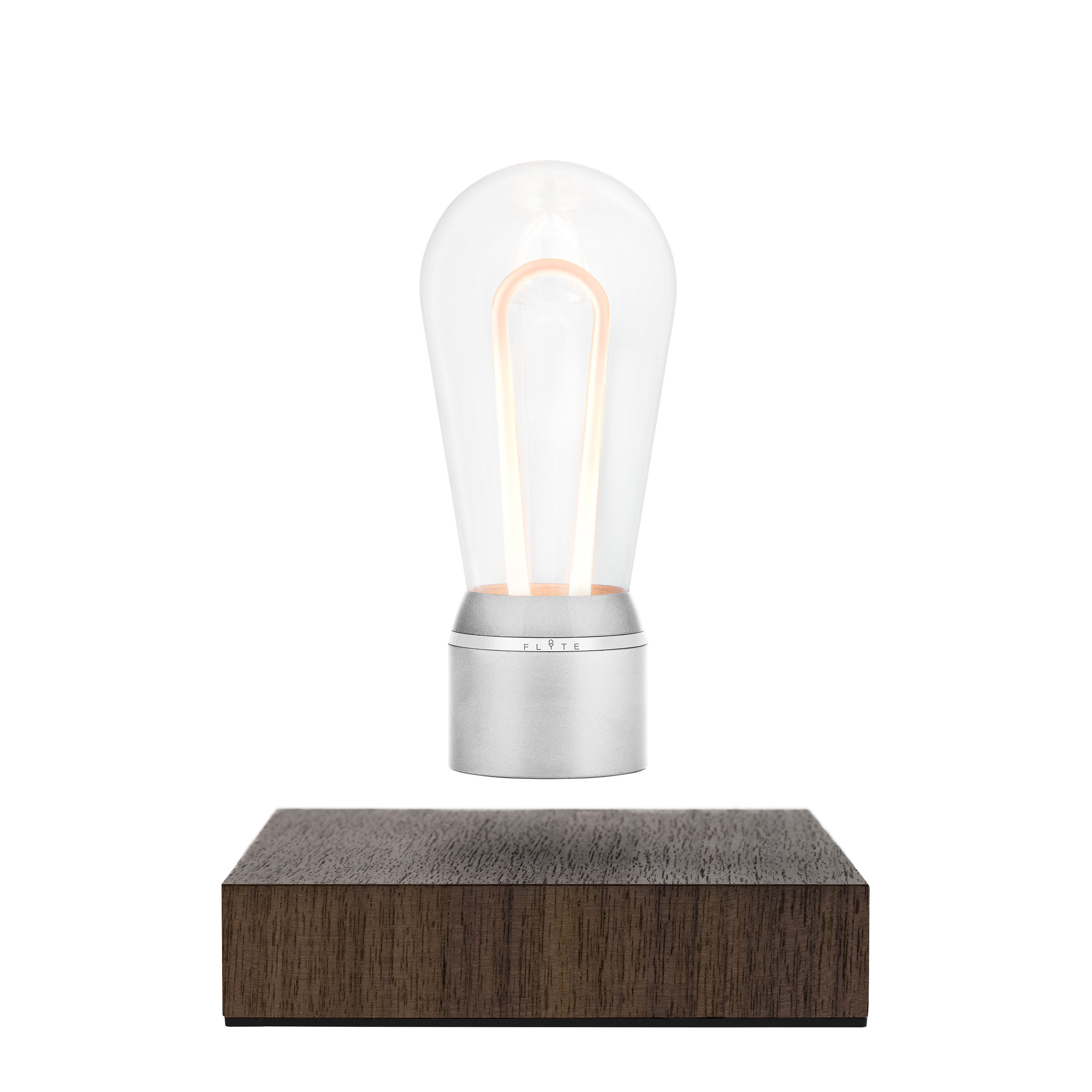 Lighting - Table Lamps - Flyte Nikola Table lamp - / Levitating bulb by Flyte - Chrome / Walnut base - Aluminium, Glass, Walnut
