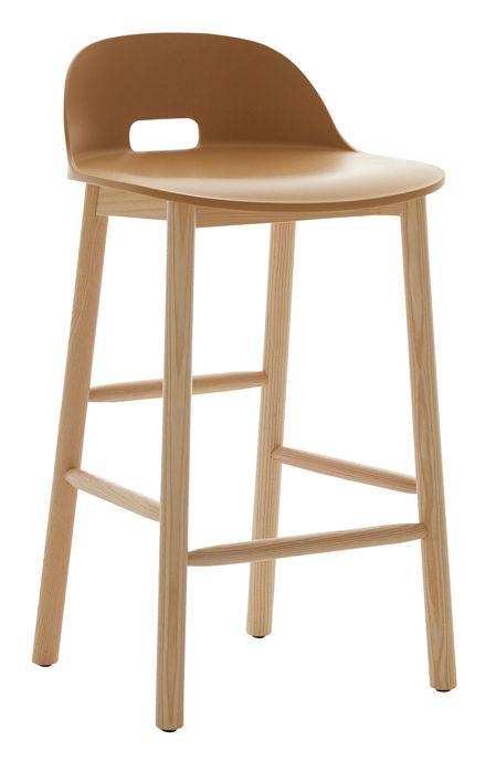 Mobilier - Tabourets de bar - Tabouret de bar Alfi / H 80 cm - Piètement frêne - Emeco - Sable - Frêne, Matériau composite recyclé