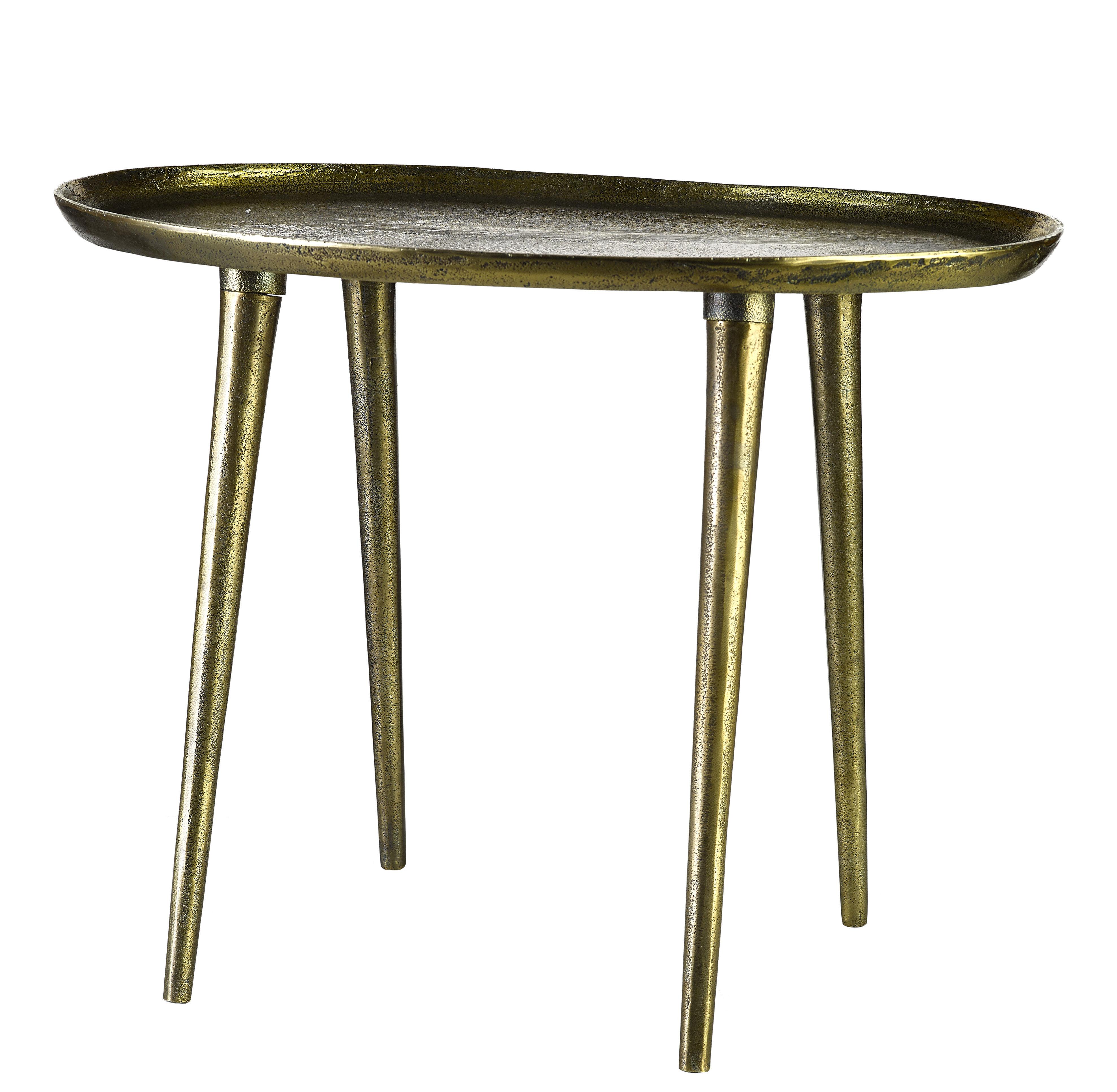 Arredamento - Tavolini  - Tavolino Oval / Fatto a mano - Ottone invecchiato - 53 x 37 cm - Pols Potten - Laiton vieilli - Alluminio fuso con finitura in ottone anticato