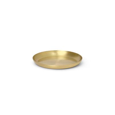 Tableware - Trays - Basho Tray - Round / Brass - Ø 9.5 cm by Ferm Living - Round / Brass - Lacquered brass