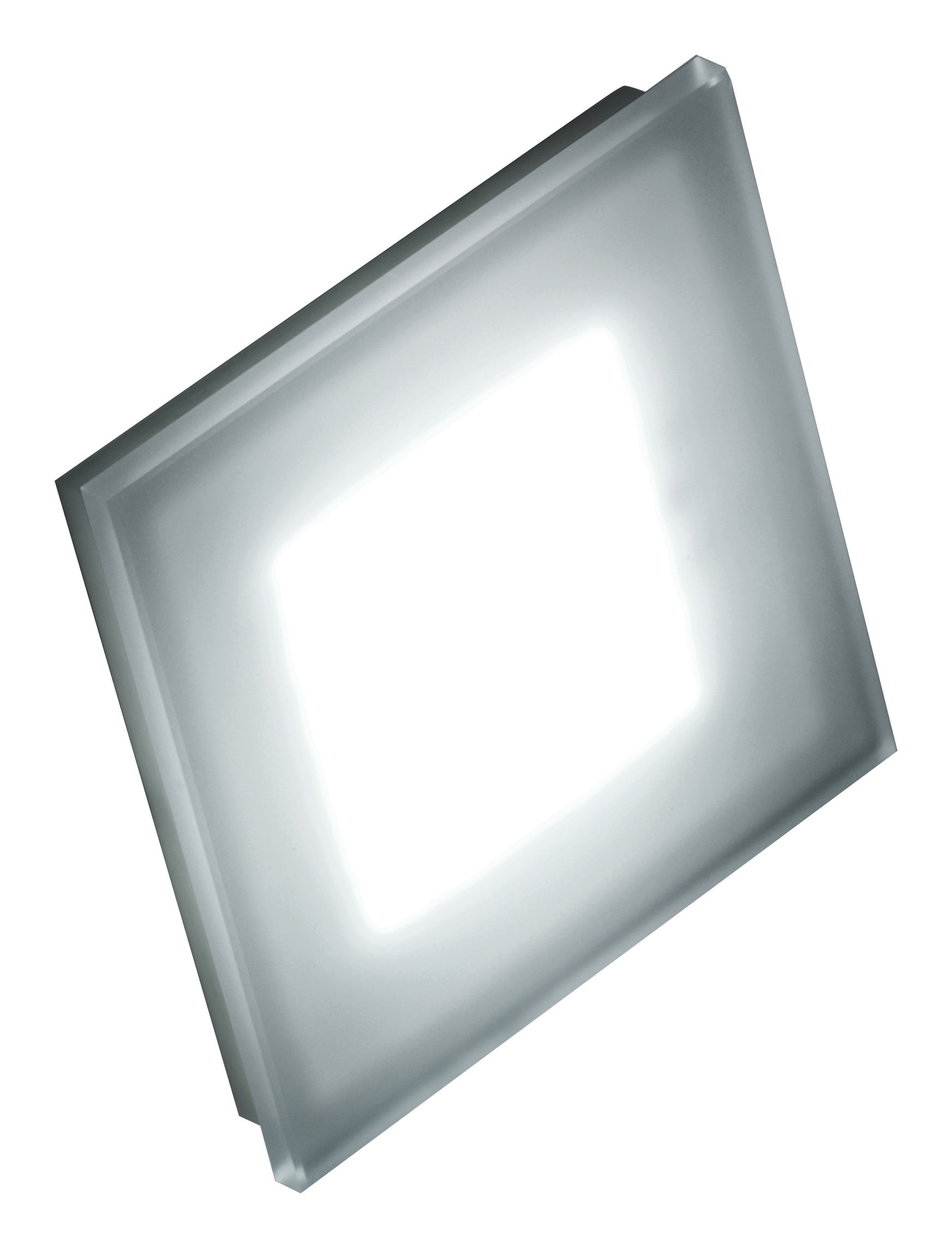 Lighting - Wall Lights - Sole Wall light - 144 Leds - Small 12 x 12 cm by Fontana Arte - White & screen-printed glass - Corian, Glass