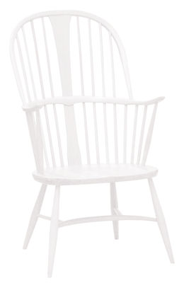 Furniture - Armchairs - Originals Chairmaker Armchair - Wood - 1950' Reissue by Ercol - White - Painted solid beech, Painted solid elm