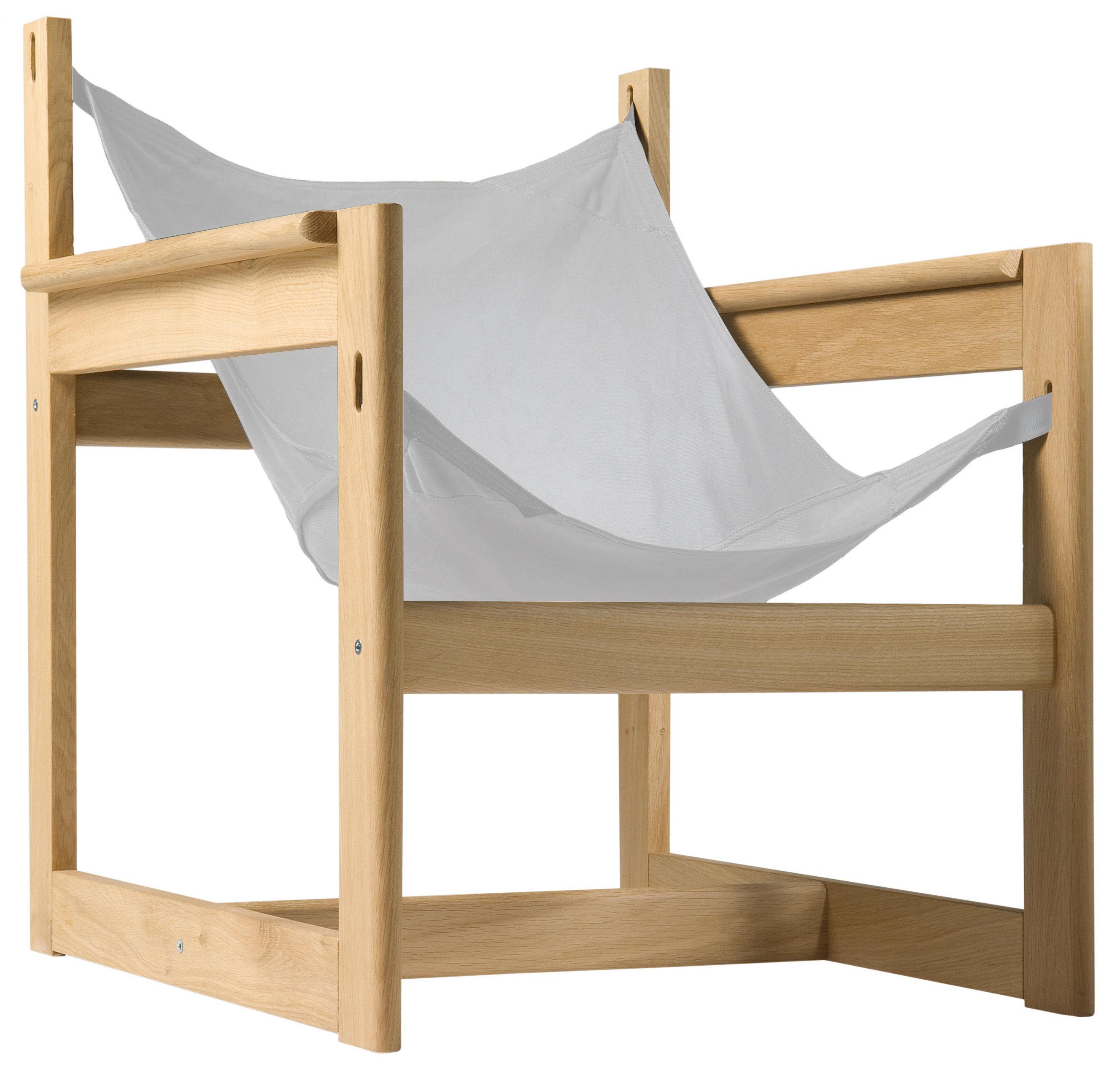 Furniture - Armchairs - Pelicano Armchair - Armchair by Objekto - Oak structure / Raw cotton seat - Cotton, Oak