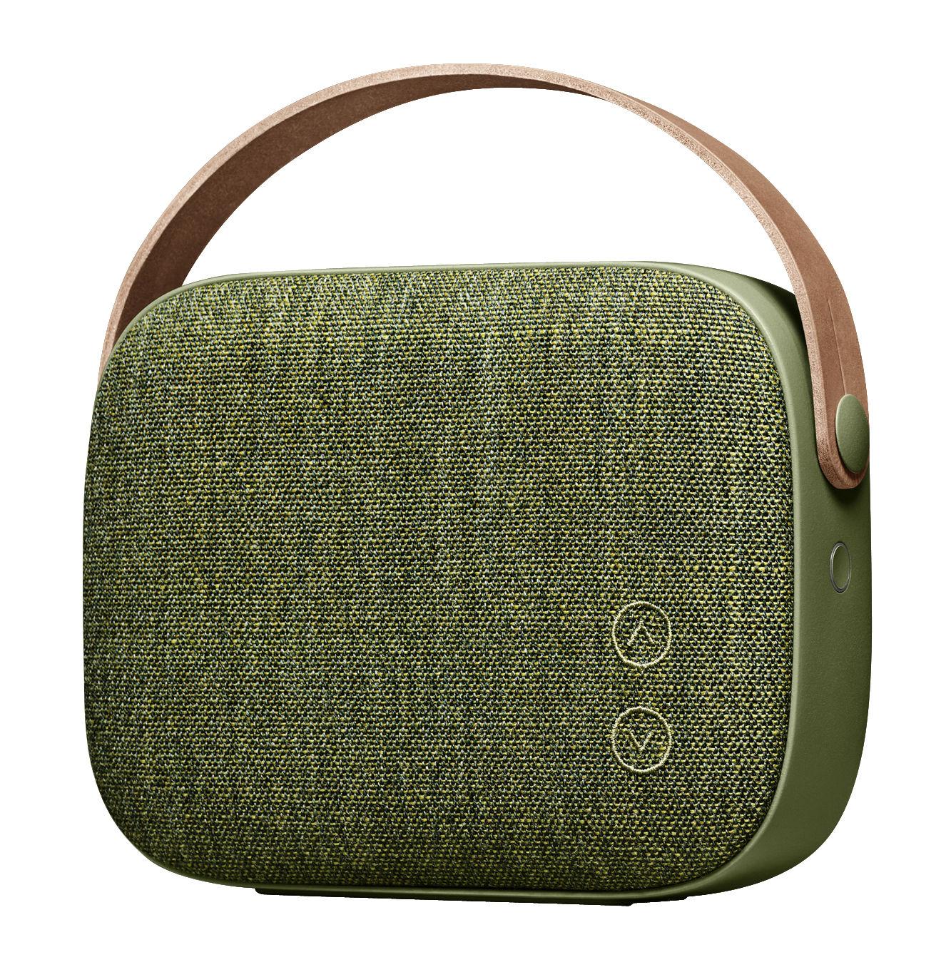 Vatertag - Moderne - Helsinki Bluetooth-Lautsprecher / kabellos - mit Stoffbezug und Ledergriff - Vifa - Weidengrün - Aluminium, Kvadrat-Gewebe, Leder
