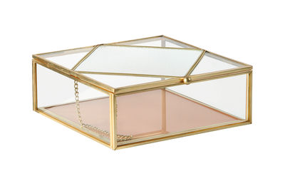 Decoration - Decorative Boxes - Box - / 16 x 16 cm - Glass & metal by & klevering - Peach - Brass finish metal, Glass