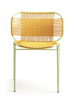 Mobilier - Chaises, fauteuils de salle à manger - Chaise empilable Cielo / Fils PVC - ames - Miel / Structure menthe - Acier laqué, Fils en PVC recyclé