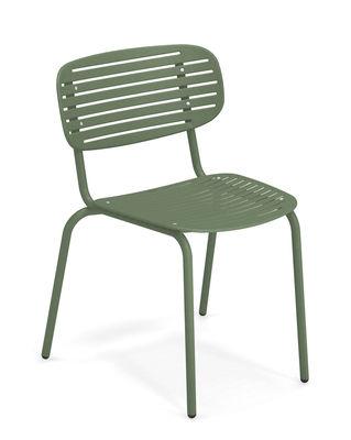 Mobilier - Chaises, fauteuils de salle à manger - Chaise empilable Mom / Métal - Emu - Vert - Acier verni