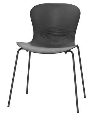 Chaise empilable Nap / 4 pieds acier - Fritz Hansen gris en matière plastique