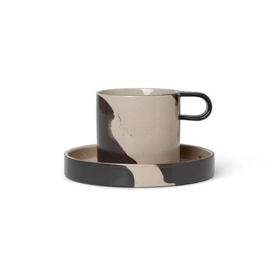 Tableware - Coffee Mugs & Tea Cups - Inlay Cup - / With saucer by Ferm Living - Sand & chocolate - Enamelled sandstone
