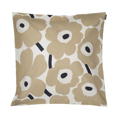 Decoration - Cushions & Poufs - Pieni Unikko Cushion cover - / 50 x 50 cm by Marimekko - Pieni Unikko / Beige - Cotton