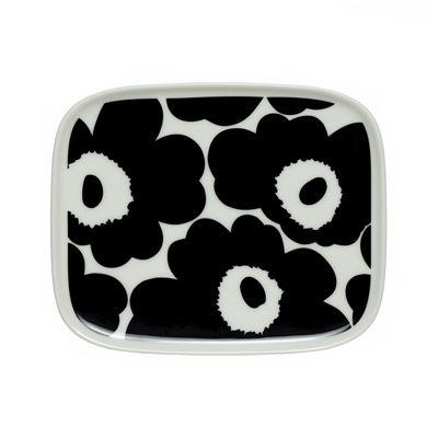 Tableware - Plates - Unikko Dessert plate - / 12 x 15 cm by Marimekko - Unikko / Black & white - Sandstone