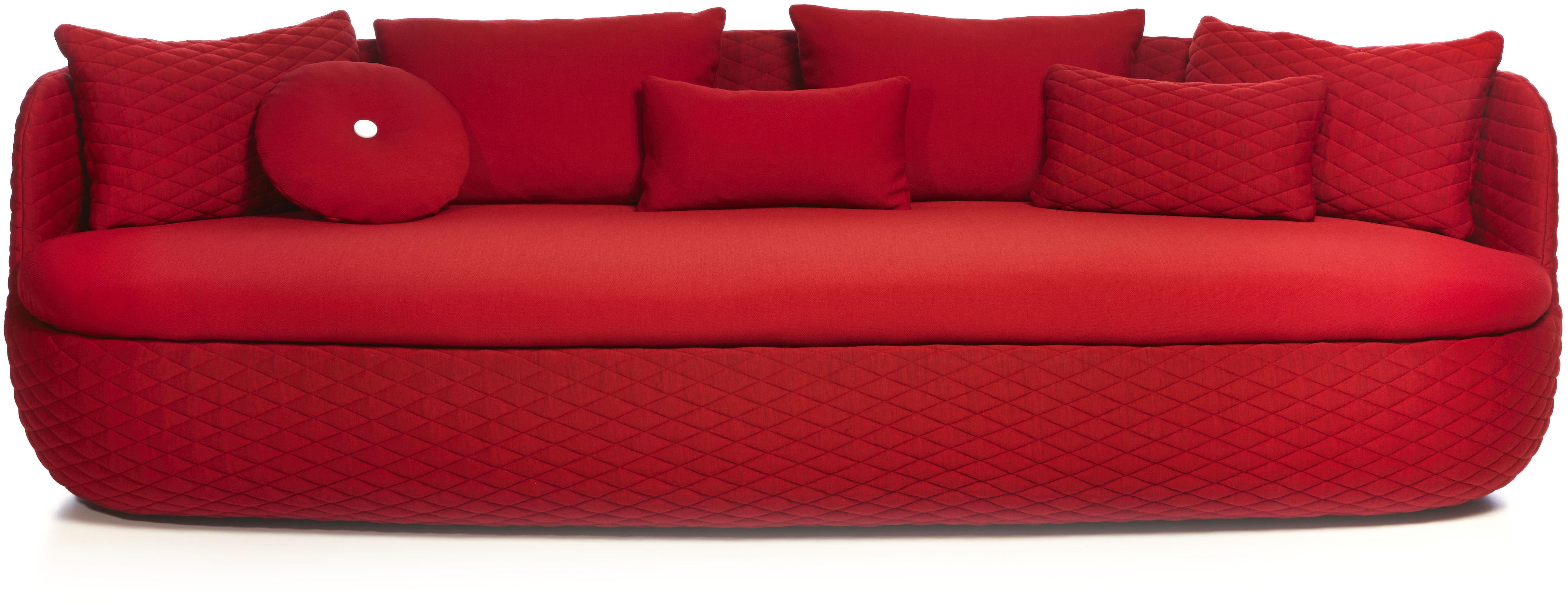 Arredamento - Divani moderni - Divano destro Bart - / L 235 cm - Seduta profonde - Tessuto di Moooi - Rosso passione - Espanso, Legno, Tessuto