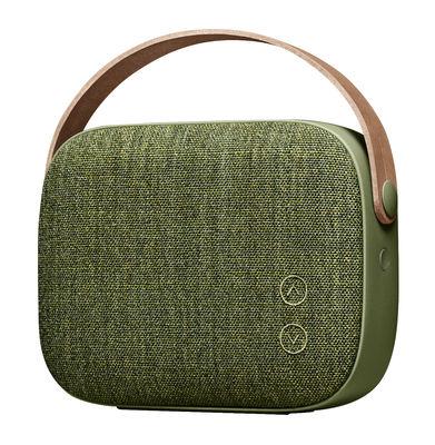 Enceinte Bluetooth Helsinki / Sans fil - Tissu & poignée cuir - Vifa vert saule en cuir