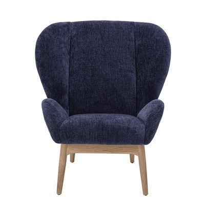 Möbel - Lounge Sessel - Eave Gepolsterter Sessel / Stoff - Bloomingville - Nachtblau / Naturholz - Eiche, Furnier, Polyester-Gewebe, Schaumstoff