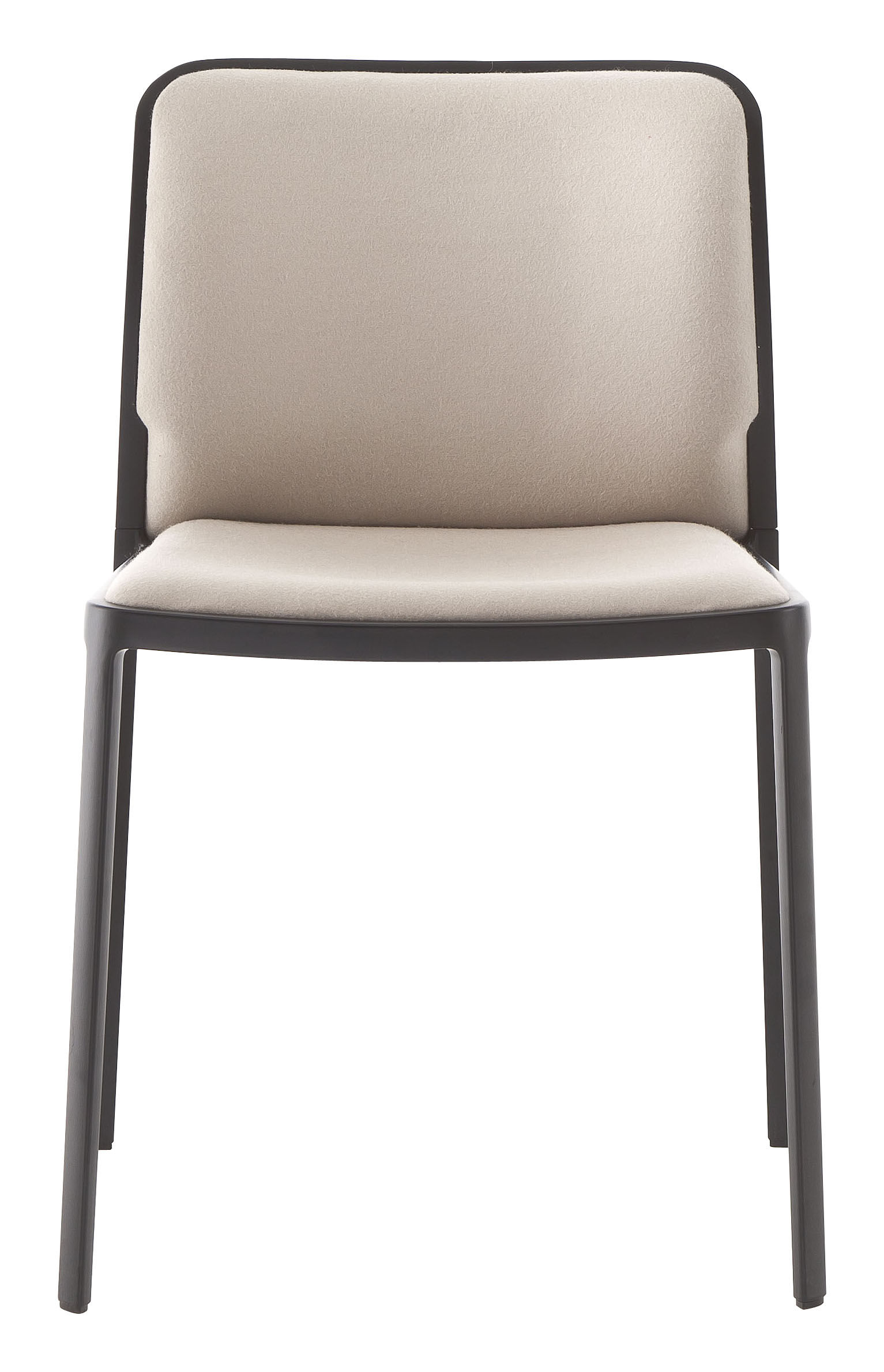 Möbel - Stühle  - Audrey Soft Gepolsterter Stuhl / Sitzfläche aus Stoff - Gestell lackiert - Kartell - Gestell: schwarz / Sitzfläche: Stoff beige - Gewebe, lackiertes Aluminium