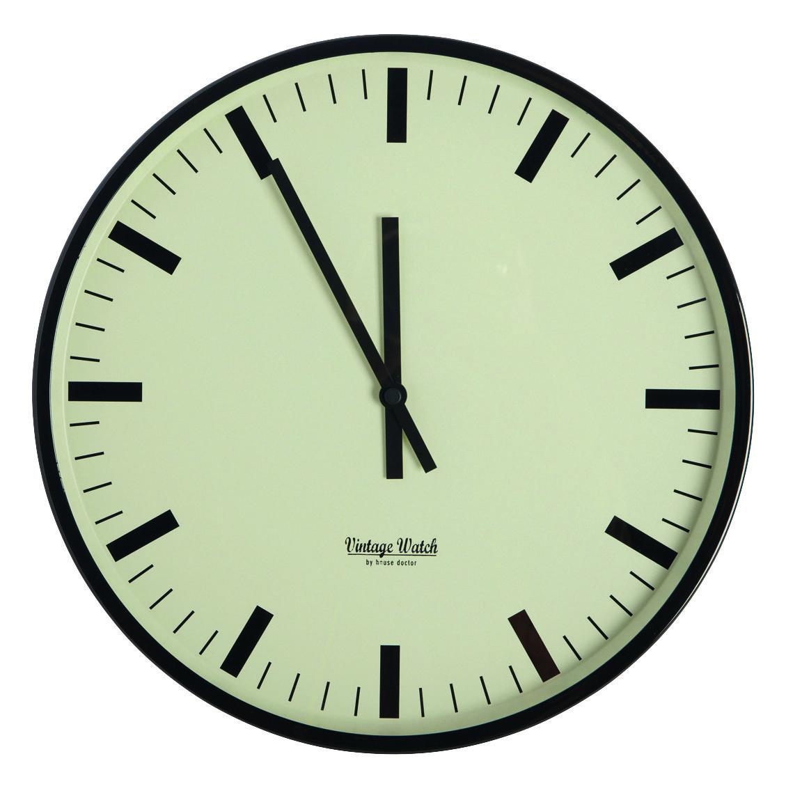 Déco - Horloges  - Horloge murale Station / Ø 38 cm - House Doctor - Olive / Noir - Métal