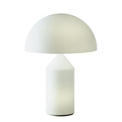 Luminaire - Lampes de table - Lampe de table Atollo Large Verre / H 70 cm / Vico Magistretti, 1977 - O luce - Blanc opalin - Verre soufflé de Murano