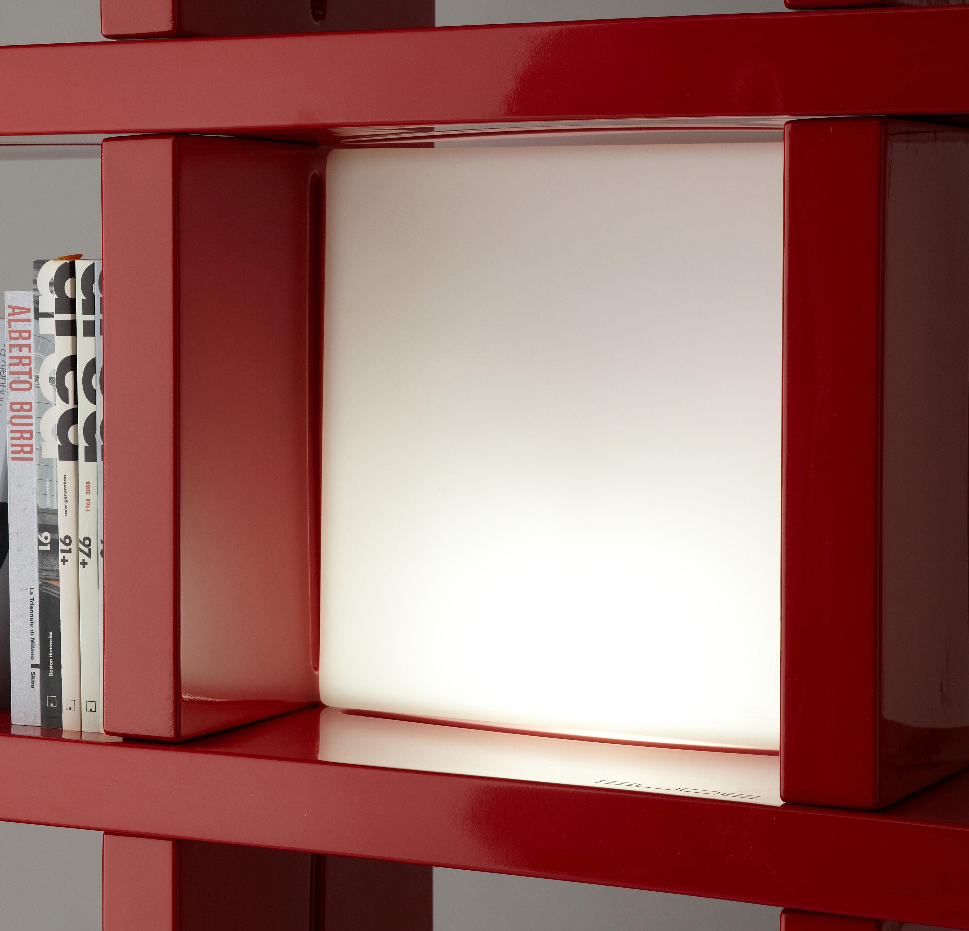 Luminaire - Lampes de table - Lampe Quadro / Cube lumineux 40 x 40 cm / Pour bibliothèque - Slide - Blanc - polyéthène recyclable