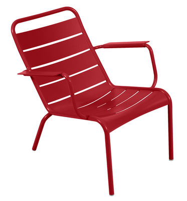 Life Style - Luxembourg Low armchair by Fermob - Coquelicot - Lacquered aluminium