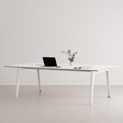 Furniture - Office Furniture - New Modern open space desk - / 4 seats - 240 x 140 cm - Fenix laminate by TIPTOE - Cloud White - Powder coated steel, Stratified