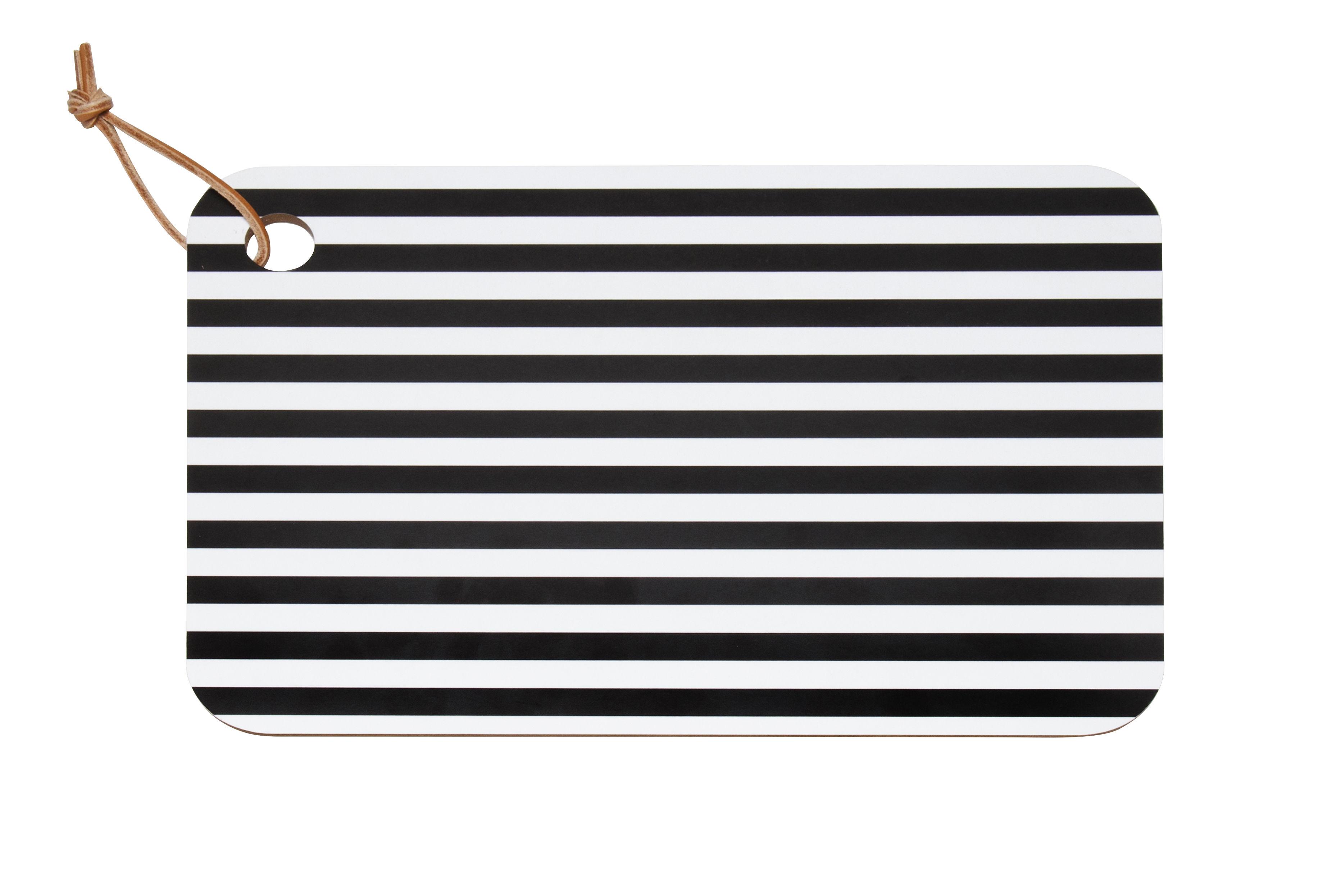 Arts de la table - Plats - Planche à découper Tasaraita / 34,5 x 24,5 cm - Marimekko - Tasaraita / Noir & Blanc - Bois, Cuir, Papier
